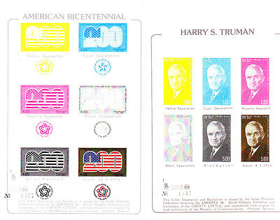 "Israel ""ameripex'86"" Harry S.truman&bicentennial Color Separation And Blackprint"