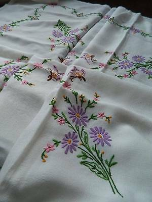 Vintage large hand embroidered white tablecloth - Butterflies & Flowers