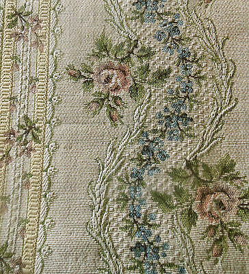 Antique 19thc French Roses Garland Tapestry Fabric ~Rose Blue Eggplant  #2