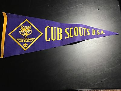 Vintage Boy Scouts America Cub Scouts BSA Pennant Flag Banner Purple Yellow