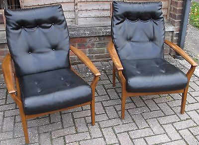 Cintique  Arm Chairs Pair 1950's 60's Black Vinyl Wood Frames
