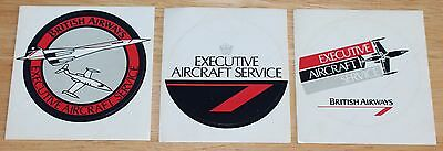 3 x Old British Airways Executive Aircraft Service Stickers Concorde & Learjet