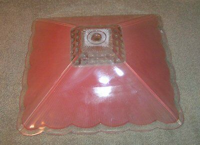 vtg Art Deco Ceiling Light Fixture Square Reverse Frosted PINK Shade Glass