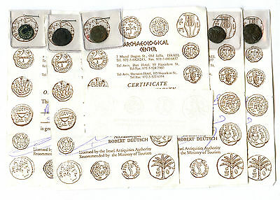Lot of 5 Ancient Roman Byzantine Coins With Archaeological Center COAs
