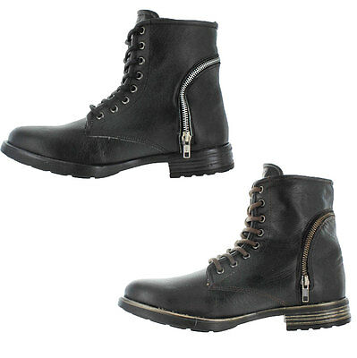 GBX Truant Men's Leather Ankle Combat Boots Lace Up