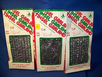 3 Boxes Vintage 1970s Essex Franke Tinsel Garland, Mint in Box 54 ft. Total