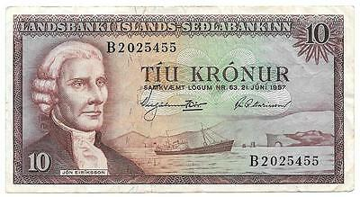 Average Circulated 1957 Iceland 10 Kronur Bank Note  - P187