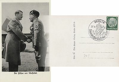 Hitler & Mussolini (1937) Shaking Hands in Berlin / Better PC with Nice Franking