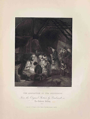 ADORATION OF THE SHEPHERDS by Rembrandt - 1832 Engraved Print Plus BONUS Page