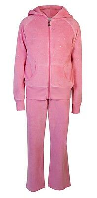 Childrens Velour Tracksuits Girls Diamante Sparkle Hoody Joggers Pink Age 5 - 6