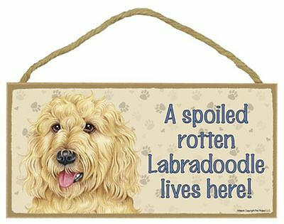 Spoiled Rotten Labradoodle Dog 5 x 10 Wood SIGN Plaque USA Made