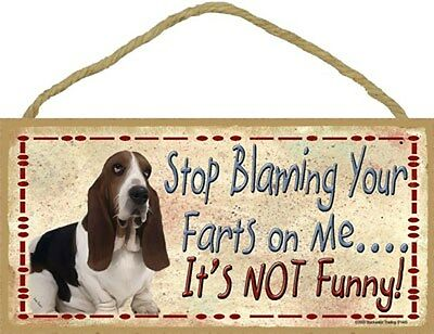 Basset Hound Dog Stop Blaming Your Farts On Me Wood SIGN Plaque USA Made