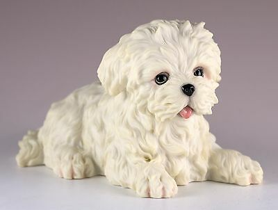 "Maltese Puppy Dog Figurine 4.5"" Long - Highly Detailed New In Box"