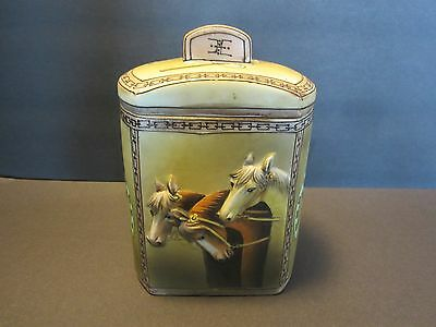 NIPPON HAND PAINTED HUMIDOR 3 Horses in 3D BLUE MAPLE LEAF MARK C 1900 Antique