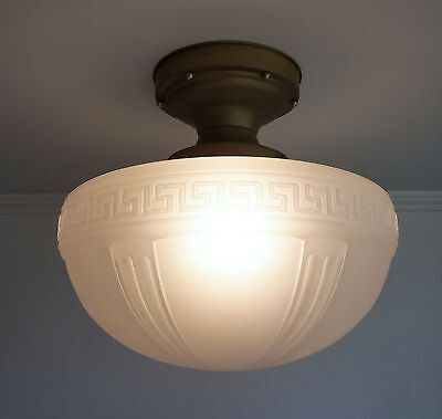 "Large 16"" Satin Glass Schoolhouse Ceiling Light Fixture With Greek Key Pattern"