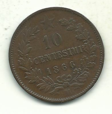 A Very Nice Vintage Better Grade 1866 M 10 Centesimi Italy Coin-Jun077