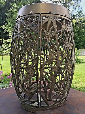 Vintage Chinese Brass Garden Stool End Table Stand