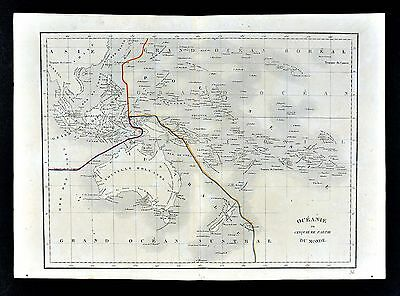 1830 Langlois Atlas Map Oceania New Holland Australia New Zealand Hawaii Pacific
