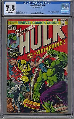 Incredible Hulk #181 Cgc 7.5 Off-White Pages 1St Wolverine