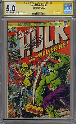 Incredible Hulk #181 Cgc Ss 5.0 Off-White Pages 1St Wolverine Signed Stan Lee