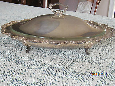 QUALITY Solid Silver Plate Covered Serving dish with glass insert
