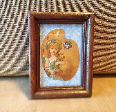 1880's Victorian Trade Card Framed, Girl And Flowers, Walnut Frame