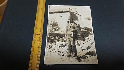 Original Wwii Japanese Photo: Army Soldier, War Sword, Destroyed China!!