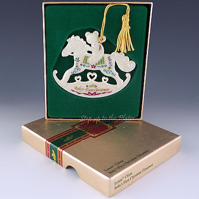 Lenox China 1988 Baby's First 1st Christmas Tree Holiday Ornament Rocking Horse