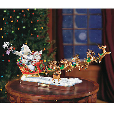 Rudolph's Christmas Journey Sleigh with Reindeer Figurine Bradford Exchange