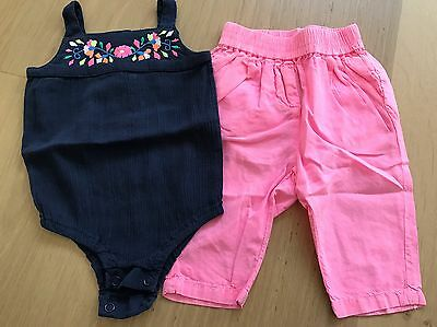 Seed Heritage - 2 PACK Baby Girls Suit And Pants - Size 000 0-3 Months