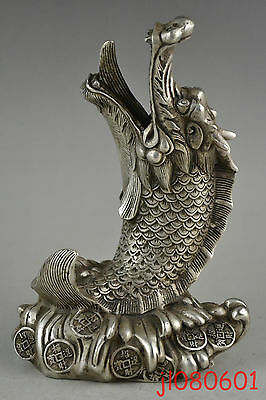 Collectible China Myth Old Copper Silver Plate Dragon Fish God Decor Statue