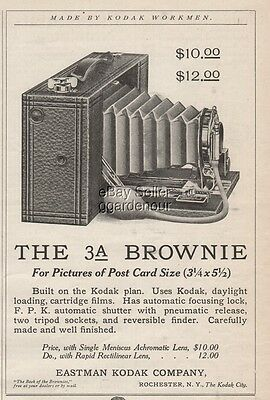 1909 Eastman Kodak No 3A Folding Brownie Camera Rochester New York print Ad