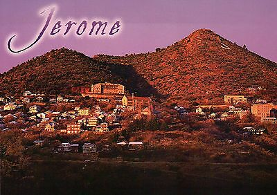 Jerome Arizona, Cleopatra Hill between Prescott & Flagstaff AZ, Dusk -- Postcard