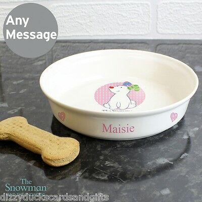 Personalised The Snowman Snowdog Pink Food Water Cat Dog Bowl Pet Gift/P0305G59