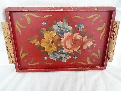 vintage primitive antique red folk art painted wood serving box tray & handles