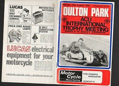 OULTON PARK  AUGUST 1967  MOTOR CYCLE RACE INTERNATIONAL TROPHY  Programme