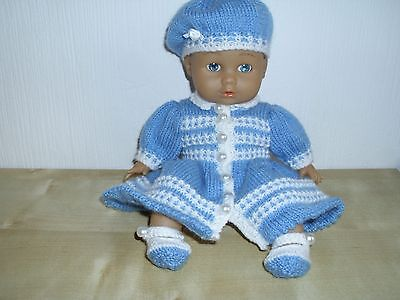 Hand Knitted Dolls Clothes Blue/White