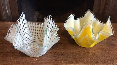 Pair of vintage glass handkerchief vases White Check And Yellow
