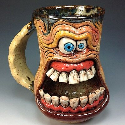 by WESLOW GRUMPY MONDAY MUG STEIN TEETH FREAKY WEIRD OOAK TIKI ART JUG ARTIST