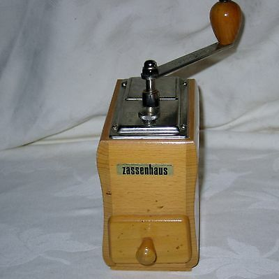 Vintage Zassenhaus light color wood coffee grinder mill