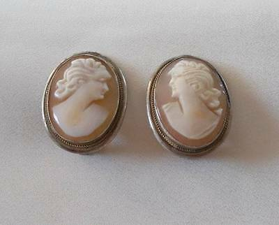 Vintage 800 Silver Shell Cameo Earrings Clip Ons Hand Carved