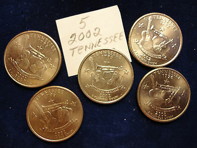 Five 2002 Tennessee  Quarter(S)   Combined Postage
