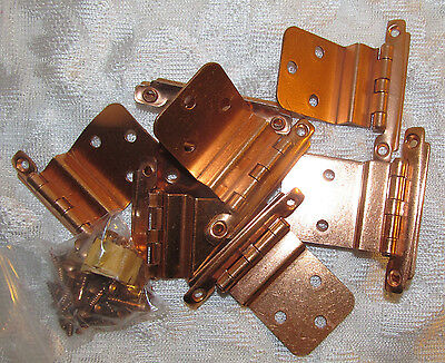 "10pc Vintage Copper Plated? 3/8"" Inset Cabinet Door Hinge Lot Screws NOS 5 Pairs"