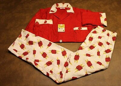 Vintage 50s 60s Mens Van Heusen Red Holiday CANDLE Retro Flannel Pajamas~NOS~SM