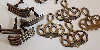 Antique Deco 30s Brass Draw Fittings Decoration And Handles + Fixings