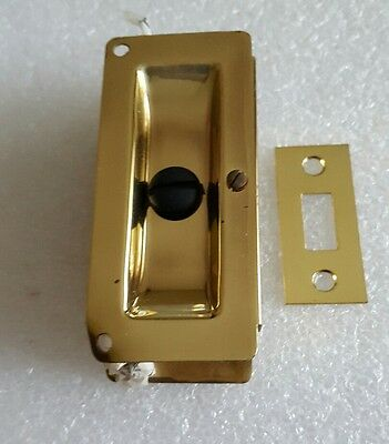 Vintage BRASS POCKET SLIDING DOOR Pricacy LOCK New Old Stock DONNER Original BOX