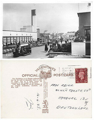 GLASGOW Empire Exhibition Valentines real photo card Scottish Avenue posted 1938