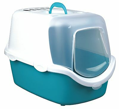 New Vico Easy Clean Hooded Cat Litter Tray, with Dome 40345 Turquoise / White