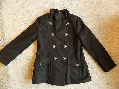 Girls Zara Classical Coat Age 7-8.  Grey / Dark Brown Gold Lion Buttons - Excell