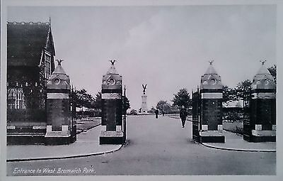 RP Postcard of Entrance to West Bromwich Park, Staffordshire.